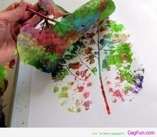 Paint with a leaf