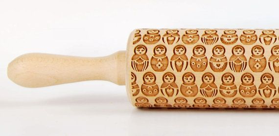 Matryoshka Babushka Russian Dolls Embossing rolling pin Engraved rolling pin