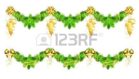 twee kerst slingers met gouden versieringen, illustratie, bevat gradiënten en transparantie