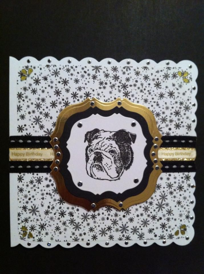 "Bulldog Stamped Birthday Card. Card made to look like a Belt Buckle. Card size is 6""x 6""."