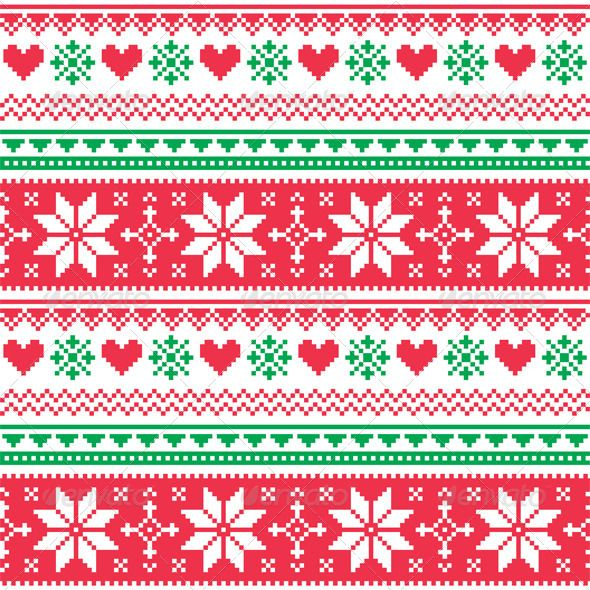 Nordic Seamless Knitted Christmas Red and Green   #GraphicRiver         Winter vector background – scandynavian pattern with hearts and snowflakes