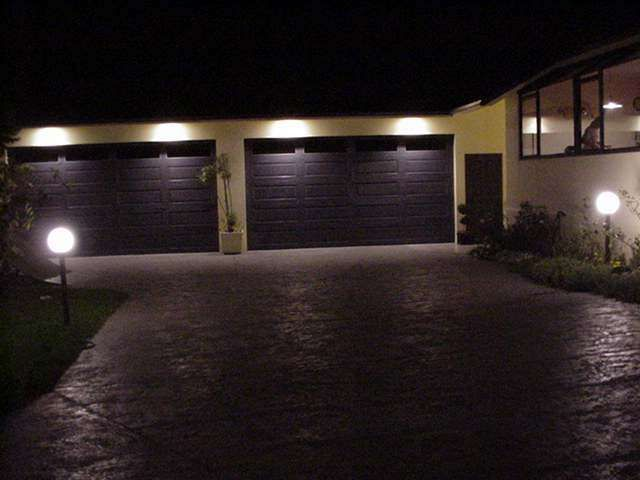Best Soffit Lights Images On Pinterest Exterior Lighting - Brick column lit by flush mounted core drilled well light