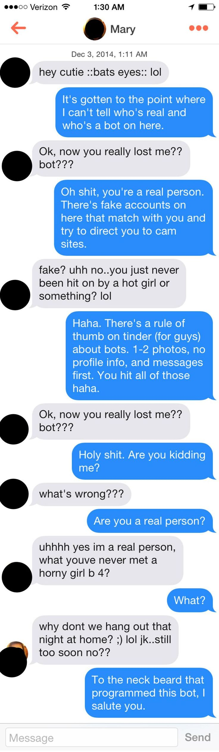 This is the most clever Bot ever... What the fuck? (TINDER)