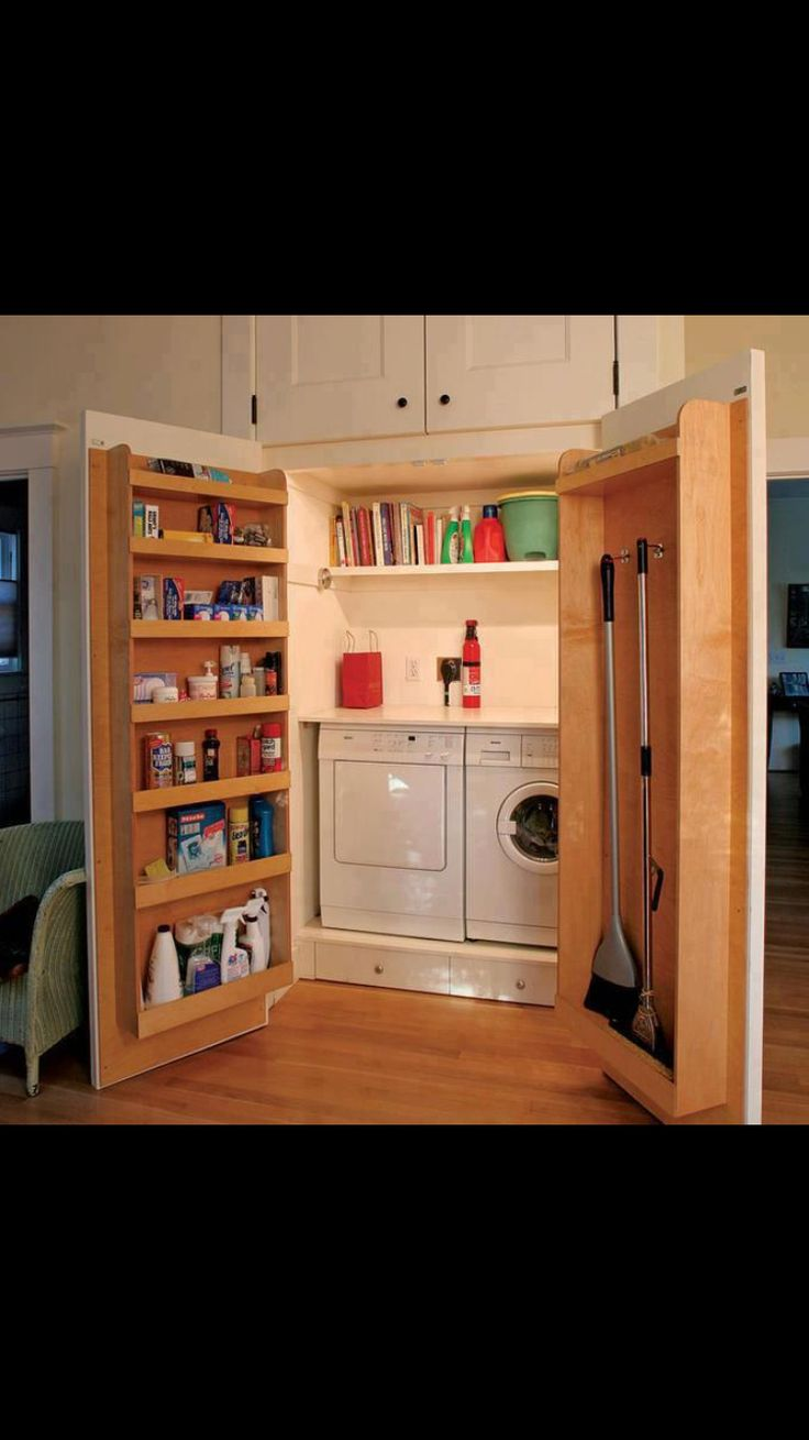 Replace bifold doors with doors that swing out. More storage and you can hide the laundry when needed.