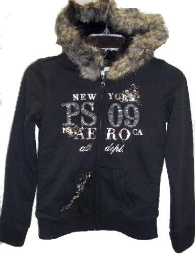 Aeropostale PS 09 Ath. Dept. Black Small Size 8 Full Zip Up Hoodie Jacket Shell 72% Cotton, 28% Polyester. Faux Fur Trim 85% Acrylic 15% Polyester. Faux Fur Lining 100% Polyester. Sleeve Lining 100% Cotton Exclusive of Decoration. Girls Full Zip Up Black Small Size 8 - 2 Pockets, Elastic Waist Band.  #Aeropostale #SingleDetailPageMisc