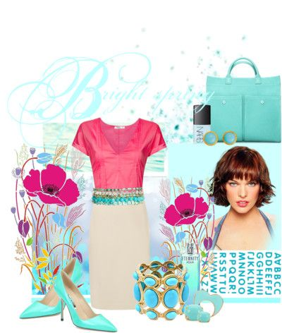 This collage captures the blues and pinks of a clear spring. For more outfit ideas for a clear spring plus to get your FREE personal seasonal color analysis visit http://OutfitIdeas4You.com