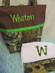 Mossy Oak Infinity Camo Camouflage Diaper Bag Tote Burp Handmade Name Choice | eBay