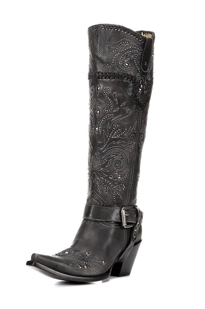 Corral Women's Black Whip Stitch & Studs Tall Cowgirl Boot