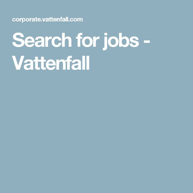 Search for jobs - Vattenfall