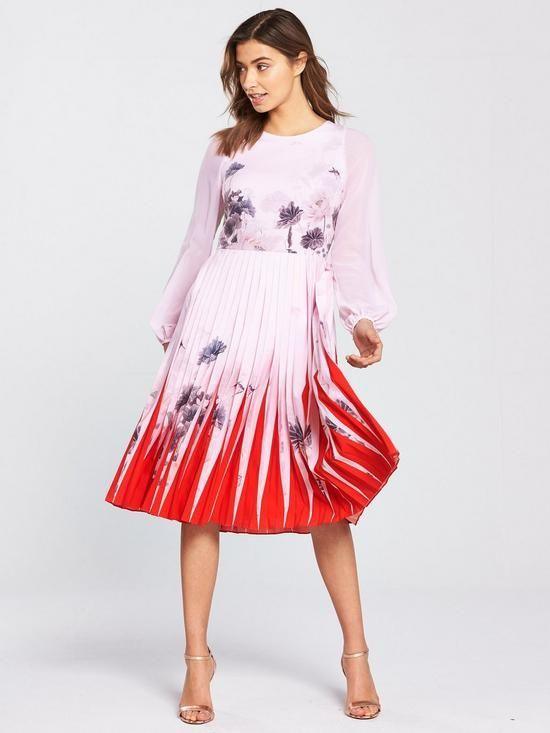 f70ba3df2ecbf2 Ted Baker Prticha Lake Of Dreams Pleated Dress - Dusky Pink ...