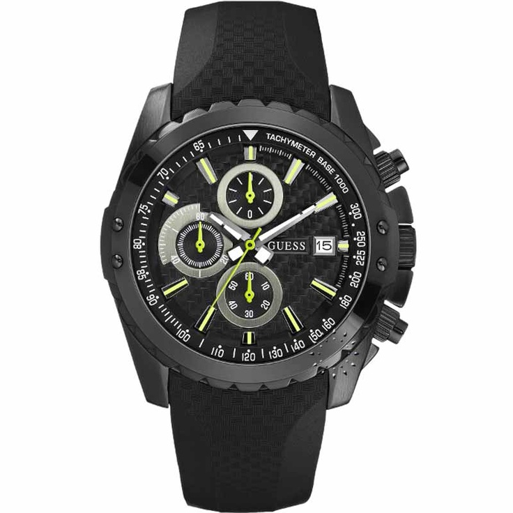 GUESS Chronograph Black Rubber Strap  177€  http://www.oroloi.gr/product_info.php?products_id=19465