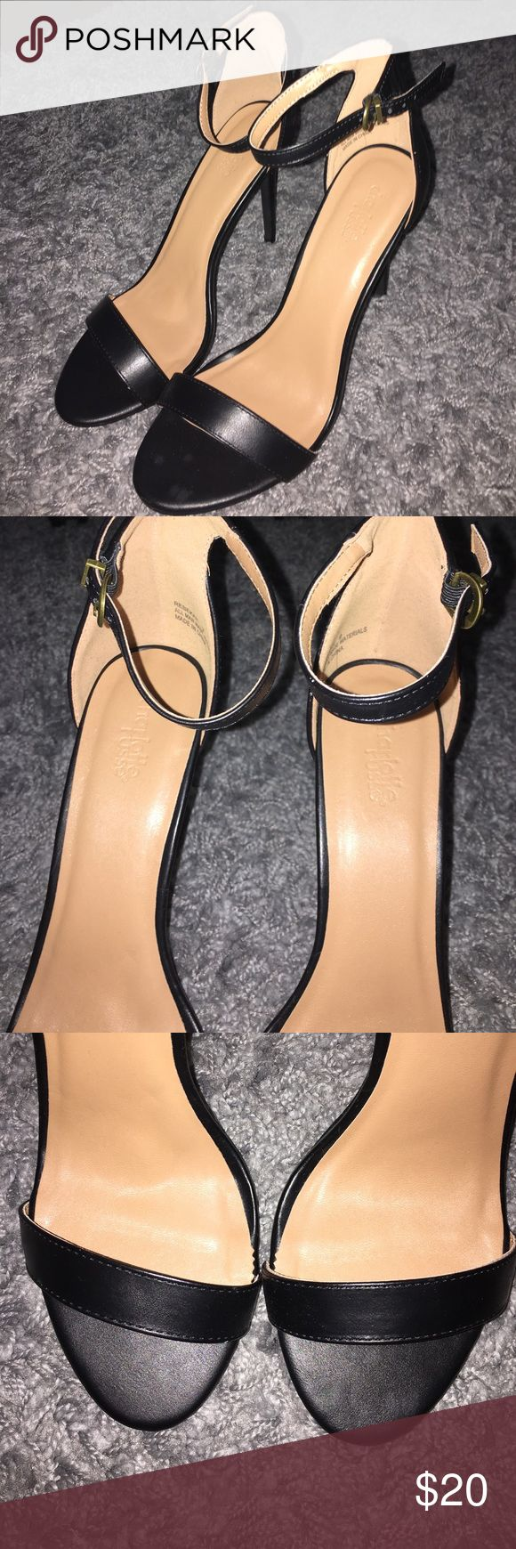 Brand New Charlotte Russe Heels!! Never worn!! Super cute for summer!! Has ankle strap and toe strap! Black outside with tan inside!! Charlotte Russe Shoes Heels