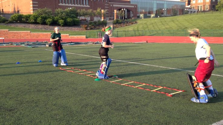 Field Hockey Goalie Warm Up Ladder Drill-A great training exercise for Field Hockey Goalies. Work those legs!