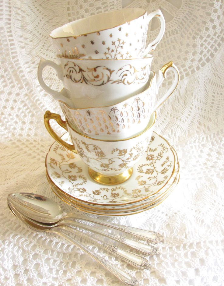 White & Gold Gilt Instant Tea Party Set, 4 Vintage English Fine Bone China Teacups, Cups, Saucers, and Teaspoons for Mad Hatter Wonderland Table by High Tea for Alice by HighTeaForAlice on Etsy