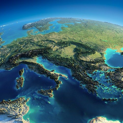 Maptitude, An exaggerated relief map of Eastern Europe.