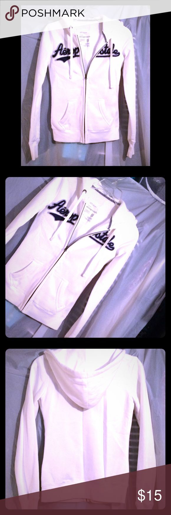 NWOT White and navy Aeropostale Hoodie- XS White zip up hoodie with navy blue and heather gray graphics that spell AEROPOSTALE. Aeropostale Tops Sweatshirts & Hoodies