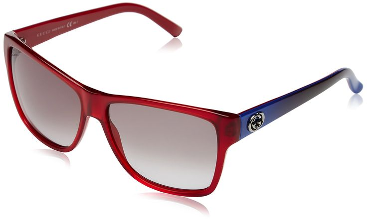 Gucci Designer Sunglasses, Transparent Red/Blue/ Grey Gradient, 58-14-135. Your designer eyewear comes with original case, cloth and manufacturers papers & warranty. Color Code :Transparent Red/Blue/ Grey Gradient L53 YE. Style No: 3579/S. Lens Color : L53 YE. girls.