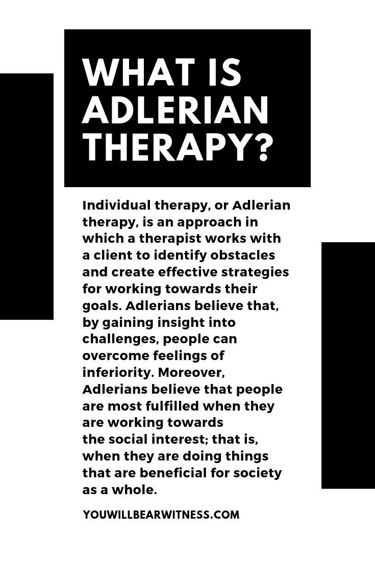 Individual therapy, or Adlerian therapy, is an approach in