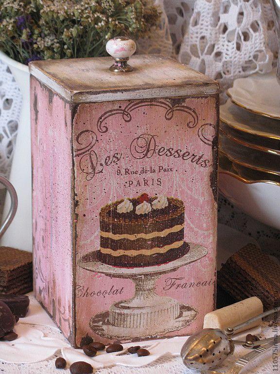 "Купить "" les Desserts..."" Короб. - бледно-розовый, короб, короб для хранения"
