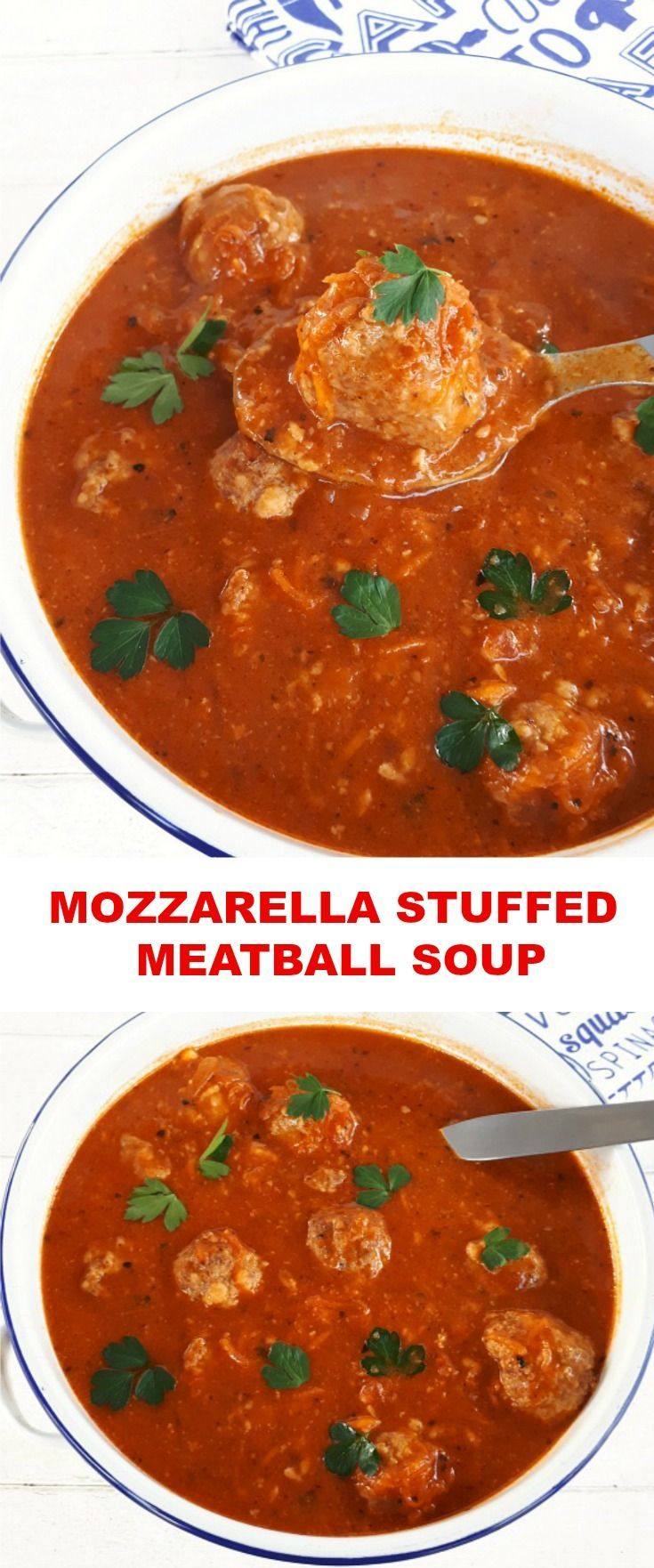 Rich Tomato based Soup with Mozzarella stuffed Meatballs make a hearty, warming dinner #Meatballs #Soup #SoupRecipes