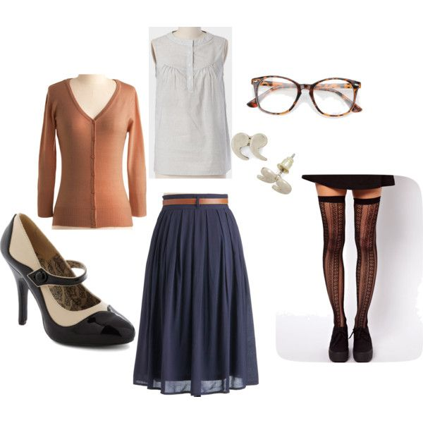 """Adorable librarian style"" by ballooon-pop on Polyvore Lower heels please :)"