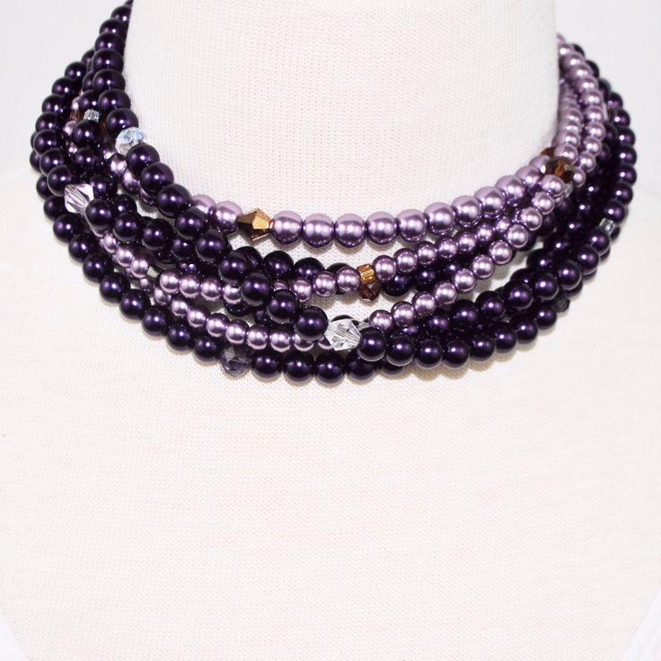 Purple / Lavender Multi Strand Glass Pearls Necklace