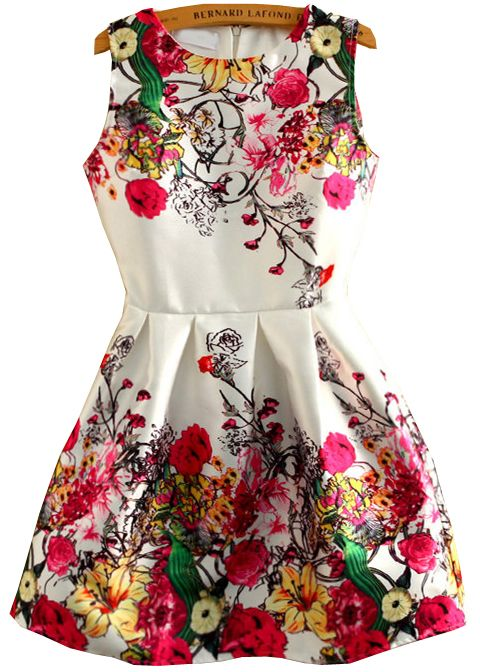 White Round Neck Sleeveless Floral Dress 23.33
