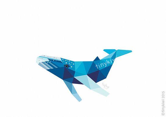 Whale Geometric design Original illustration by tinykiwiprints