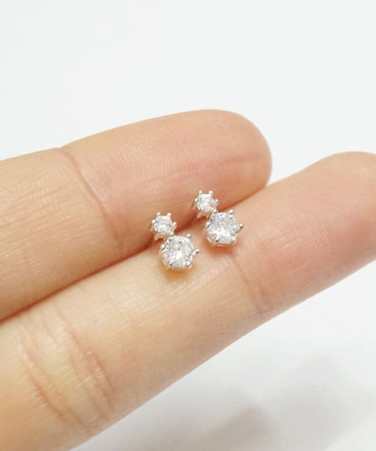 Silver Fairy cz earrings,3mm/2mm,sterling silver,bridal jewelry,teardrop earrings,petite earrings,dainty jewelry,bridesmaid,gift for her