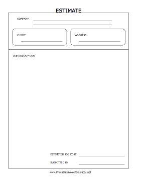 pdf estimate template