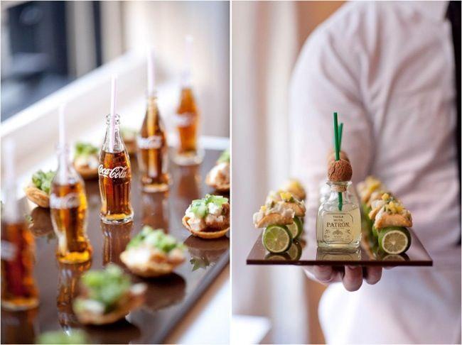 Taquitos de pescado con mini tequila Patrón y mini Coca Colas. Y tus invitados dirán: awwwww, so cute! Fish Tacos, mini tequila and mini cokes!!
