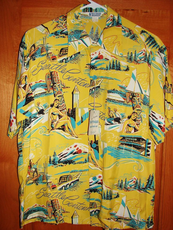Driftwood - 50s Seattle Rayon Vintage Hawaiian Shirt - TheHanaShirtCo I have this fabric in blue.
