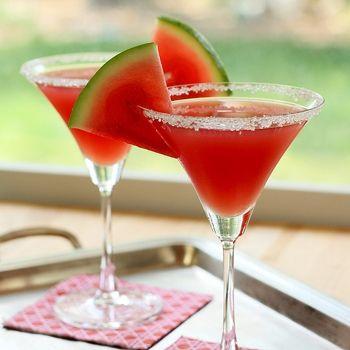 Watermelon Martini- sugar, salt, watermelon purée, vodka, limoncello & lime juice
