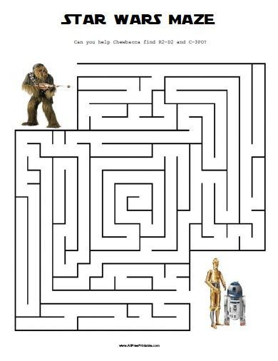 Free Printable Star Wars Maze                                                                                                                                                                                 More