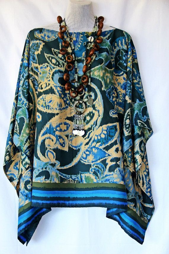 Beautiful Polysilk Paisley Kaftan Top by Molly by MollyKaftans, $79.00
