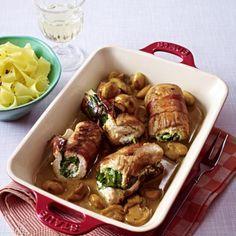 Puten-Rouladen mit Spinat-Frischkäse-Füllung Rezept