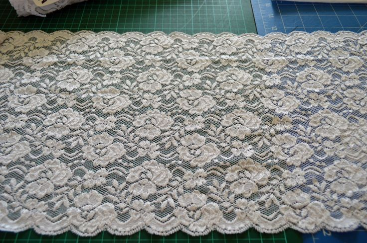 NC005, white elastic lace, floral design, 25cm wide, scalloped edges by TheQuiltedCheese on Etsy