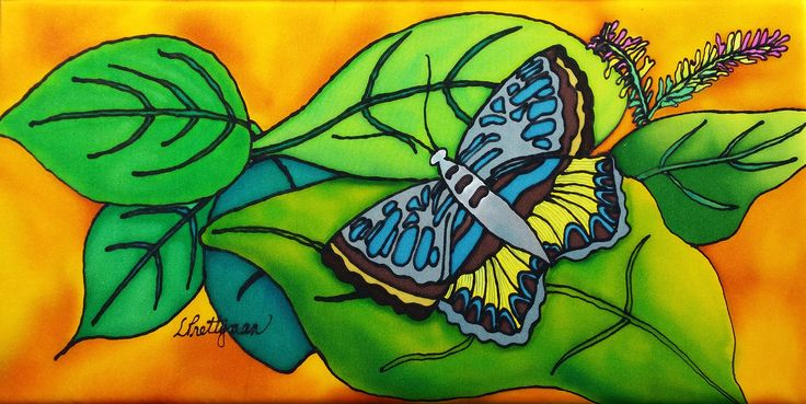 """""""Simple Butterfly"""" silk wall hanging"""