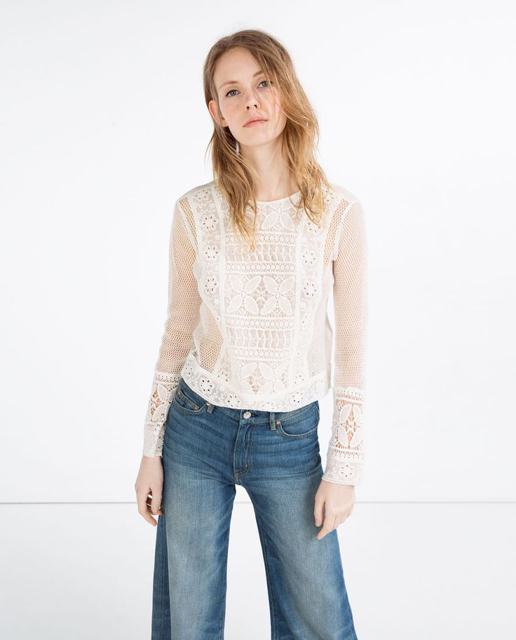 CONTRAST LACE TOP-View All-TOPS-WOMAN | ZARA United States