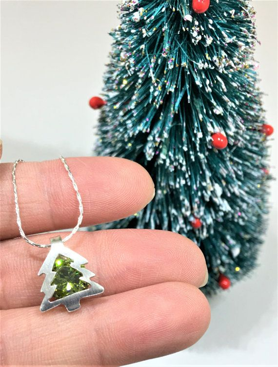 Sterling silver christmas tree necklace with by EveryLittleRing