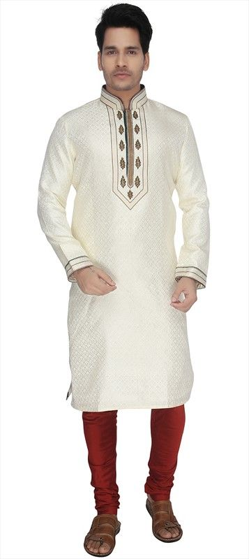 501736 White and Off White  color family Kurta Pyjamas in Silk fabric with Lace, Machine Embroidery work .
