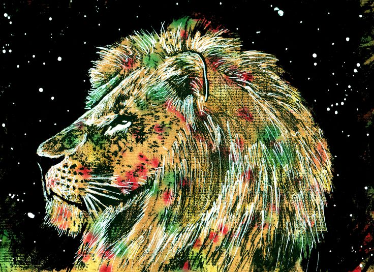 Lion Monoprint Posca markers Ink