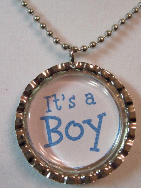 It's a Boy!! bottle cap necklace