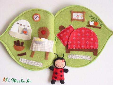 Kitti-játszókönyvecske levélkuckója Ladybug, Baby-mother-child toy, dolls, dollhouse, Skills game Mesko