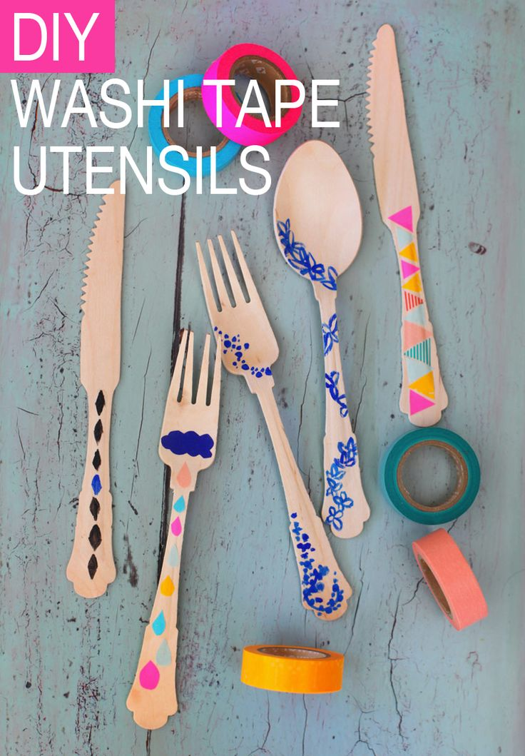 DIY // Washi Tape Utensils. Perfect for disposable utensils for an outdoor party