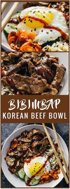 bibimbap | korean beef bowl | korean rice bowl | bibimbap sauce | bibimbap bowl | how to eat bibimbap | korean beef marinade | easy recipe | asian beef | asian bowl | spicy | sponsored #riceonthego via /savory/ tooth
