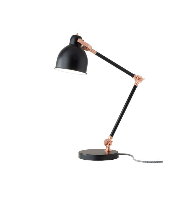 The Holbrook Desk Lamp takes classic mid-century design an updates the look with on-trend copper accents. With three adjustable joints, this item can illuminate all areas of your workspace. A black an