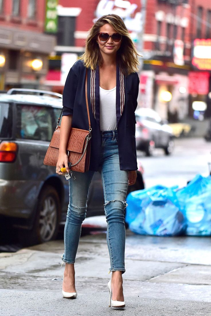 """Chrissy Teigen is seen in Soho wearing a pair of Citizens of Humanity """"Rocket"""" in Stage Coach in New York City on March 31, 2015. - Cosmopolitan.com"""