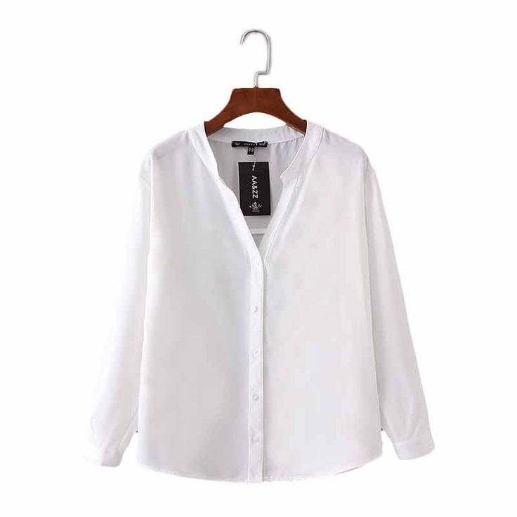Women basic V-neck solid chiffon blouse long sleeve buttons white pink shirts office lady elegant work wear brand tops