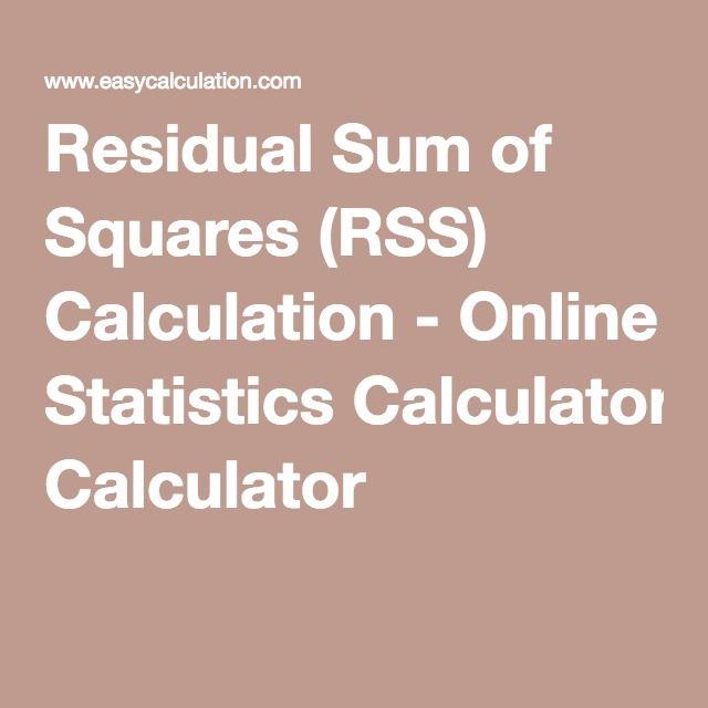 Residual Sum of Squares (RSS) Calculation - Online Statistics Calculator